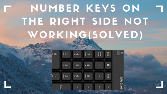 Number keys on the right side not working(Solved)